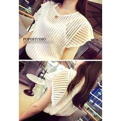 QZ Lady - Inset Camisole Cap-Sleeve Sheer Striped Top