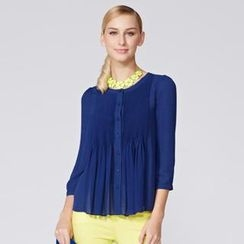 O.SA - 3/4-Sleeve Shirred Chiffon Blouse