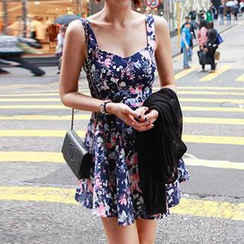 Dowisi - Floral Print Sleeveless Dress