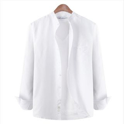 WIZIKOREA - Mandarin-Collar Long-Sleeve Shirt