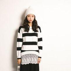 Porta - Lace Panel Stripe Knit Top