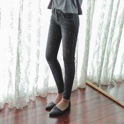 WITH IPUN - Fray-Hem Skinny Jeans