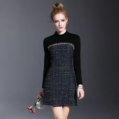 MIUCO - Tweed Panel Long Sleeve A-Line Dress