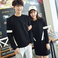 Azure - Couple Matching Contrast Trim Pullover / Pullover Dress