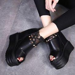 安若 - 厚底內增高蕾絲踝靴