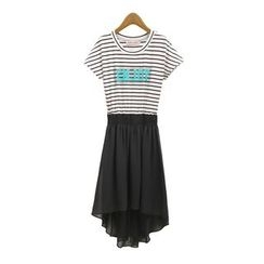 GRACI - Stripe Letter Panel Short-Sleeve Dress