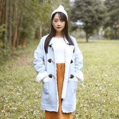 Sens Collection - 纯色长款粗呢大衣