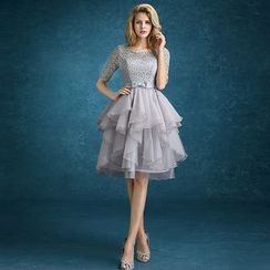 Loree - Elbow Sleeve Tiered Short Pom Dress