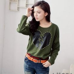 OrangeBear - Long-Sleeve Studded Heart-Print T-Shirt