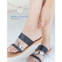 soo n soo - Disc Pendant Silver Anklet