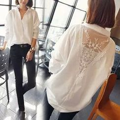 Rocho - Lace Back Oversized Shirt