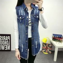 CASSY - Washed Distressed Buttoned Long Denim Vest