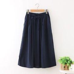 Aigan - Drawstring-Waist Midi Skirt