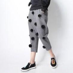 Ultra Modern - Pom Pom Cropped Harem Pants