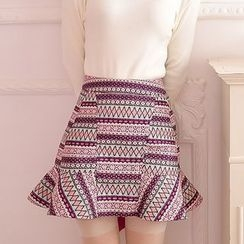 Princess Home - Patterned Ruffle Knit Skirt