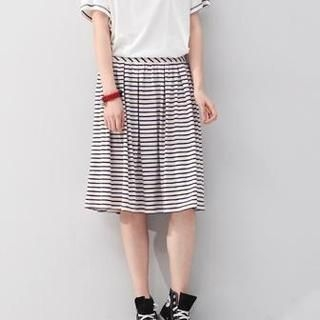 To/Youth - Striped Midi Skirt