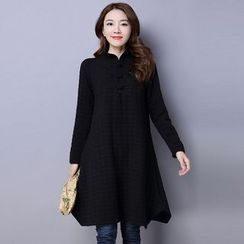 Supernova - Stand Collar Textured Long-Sleeve Dress
