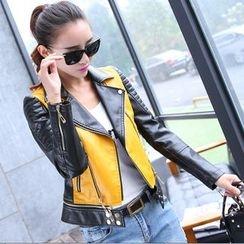 ARDAN - Color Block Faux Leather Biker Jacket