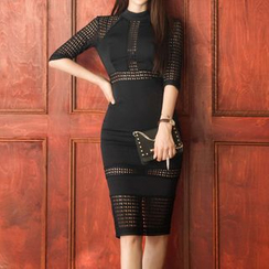 Aurora - Elbow-Sleeve Paneled Cutout-Back Sheath Dress