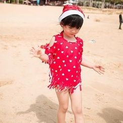 Sweet Splash - Kids Set: Heart Print Bikini + Cover-Up