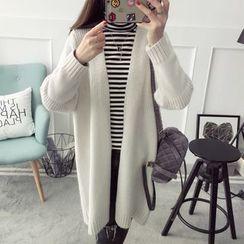 Qimi - Plain Long Chunky Cardigan