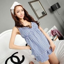 Snorie - Pajama Set: Gingham Strap Top + Shorts