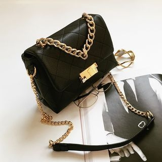 Beloved Bags - Chained Faux Leather Shoulder Bag