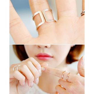 Miss21 Korea - Adjustable Double Silver Ring