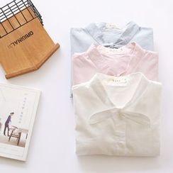 布丁坊 - 领结带长袖衬衫
