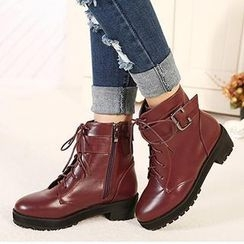 Mancienne - Buckled Lace-Up Ankle Boots