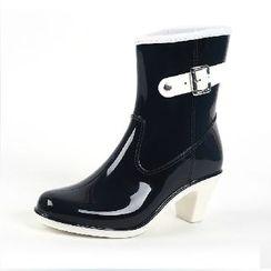 利達妮 - 扣帶高跟雨靴
