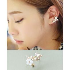 Miss21 Korea - Faux Pearl Flower Earring (Single)