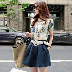 Ashlee - Set: Short-Sleeve Printed Blouse + Skirt