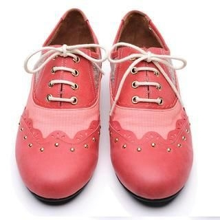 Life 8 - Genuine-Leather Studded Oxfords