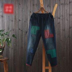 aerokiss - Color Panel Band Waist Jeans