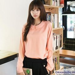 OrangeBear - Beaded-Collar Chiffon Blouse