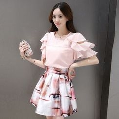 Ashlee - Set: Ruffle Short Sleeve Blouse + Printed A-Line Skirt