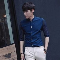MEING - Elbow-Sleeve Paneled Shirt
