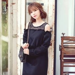Tokyo Fashion - Cutout Lace-Panel Shift Dress