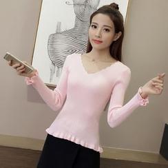 lilygirl - 實拍韓版新款甜美v領修身打底短款毛衣女純色長袖女士打底