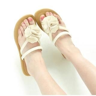 77Queen - Flower-Accent Thong Flat Sandals