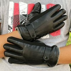 Fow Fow - Faux Leather Fleece-lined Gloves