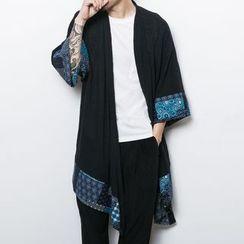 Seoul Boy - Patterned-Trim Long Cardigan