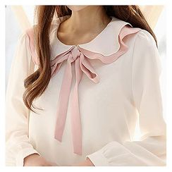 Sechuna - Frilled Peterpan-Collar Beribboned Top