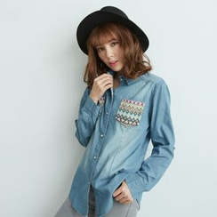 BAIMOMO - 印花牛仔布襯衫