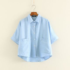 Mushi - Boxy Short-Sleeved Blouse