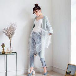 chuu - Set: Tie-Detail Sheer Lace Dress + Slipdress