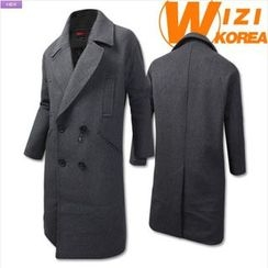 WIZIKOREA - Wool Blend Double-Breasted Coat