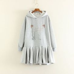 Mushi - Hooded Long-Sleeve Embroidered Pleated Dress