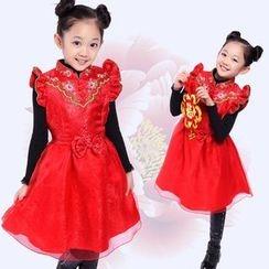 OnCloud - Kids Ruffle Trim Sleeveless A-line Dress